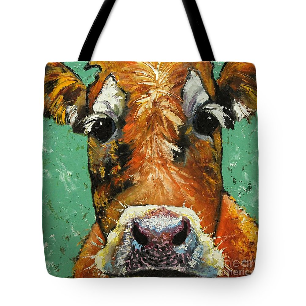 Cow Tote Bag featuring the painting Cow 484 by Rosilyn Young