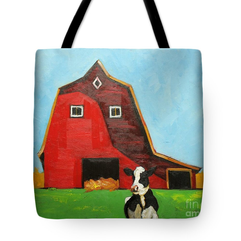 Cowred Barn Tote Bag featuring the painting Cow And Barn 4 by Rosilyn Young