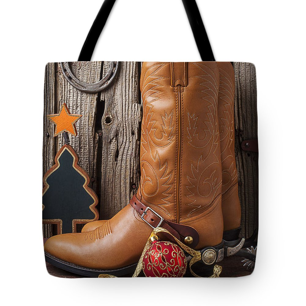 Boot Tote Bag featuring the photograph Cowboy Boots And Christmas Ornaments by Garry Gay