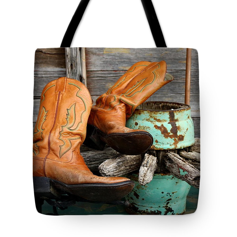 Still Life Tote Bag featuring the photograph Cowboy Boots Western Still Life by Terry Fleckney