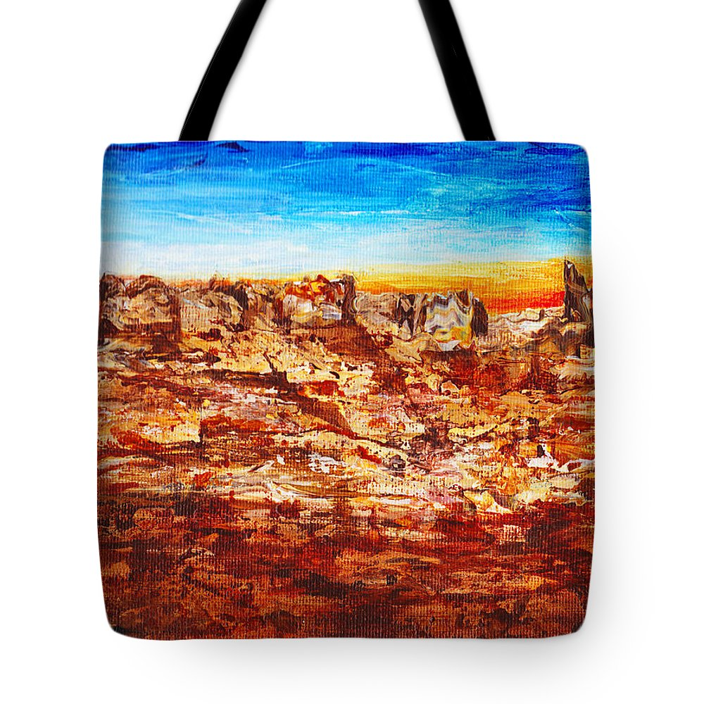 Canyon Tote Bag featuring the painting Coyotes Are Calling by Cindy Johnston