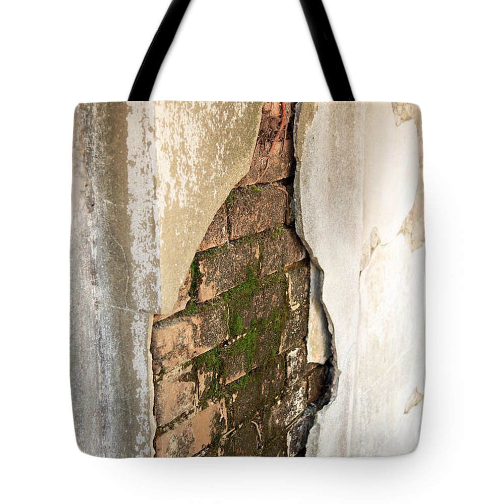 Savannah Ga Tote Bag featuring the photograph Crack In The Wall by Carol Ann Thomas