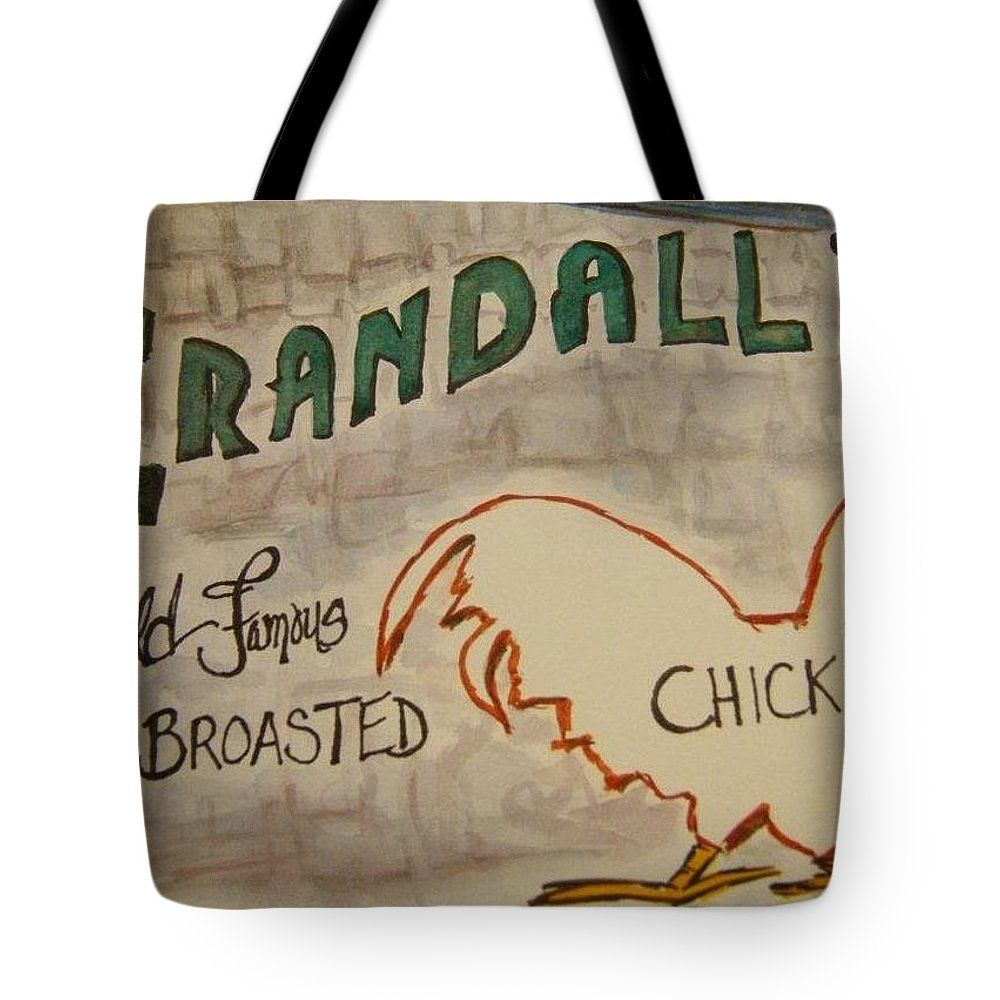 Sign Tote Bag featuring the painting Crandalls by Elaine Duras