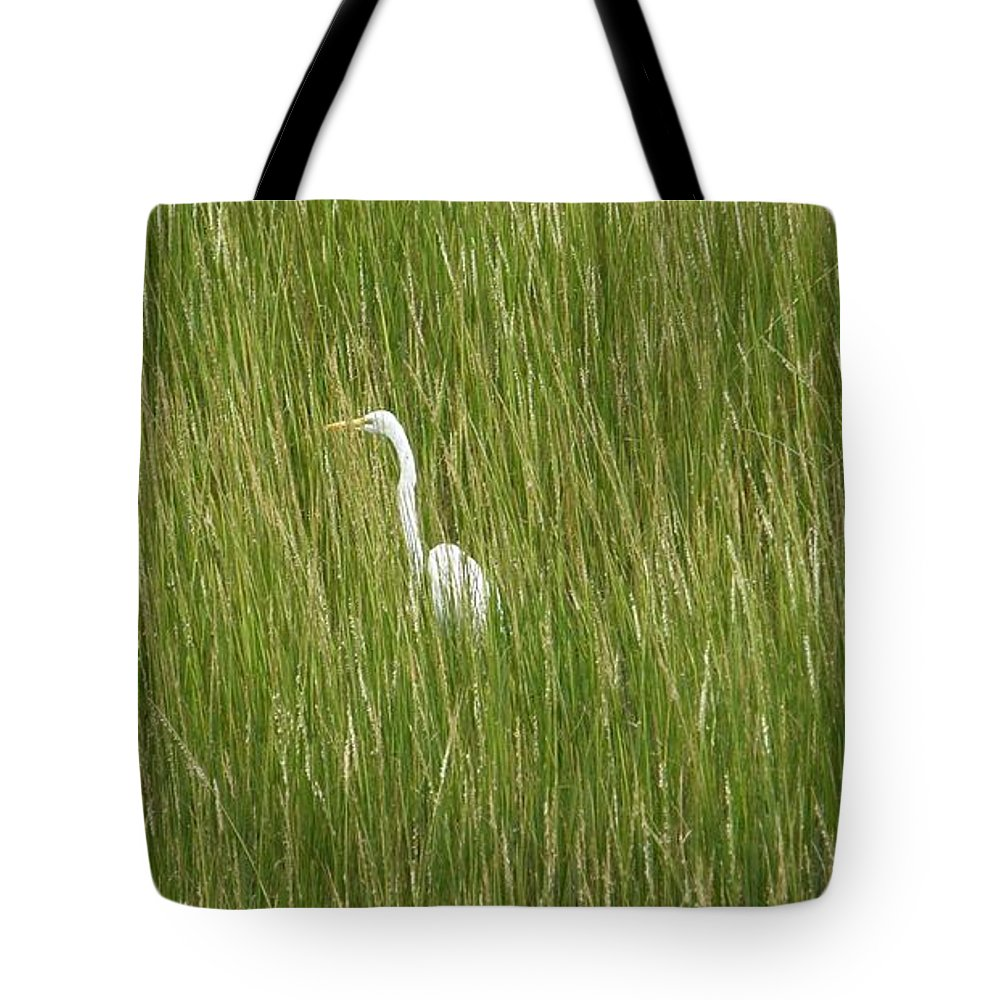 Crane Tote Bag featuring the photograph Crane In The Tall Grass On Assateague Island Maryland by Sven Migot