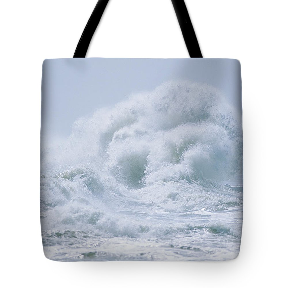 North America Tote Bag featuring the photograph Crashing Backwash Waves At Cape by Skip Brown
