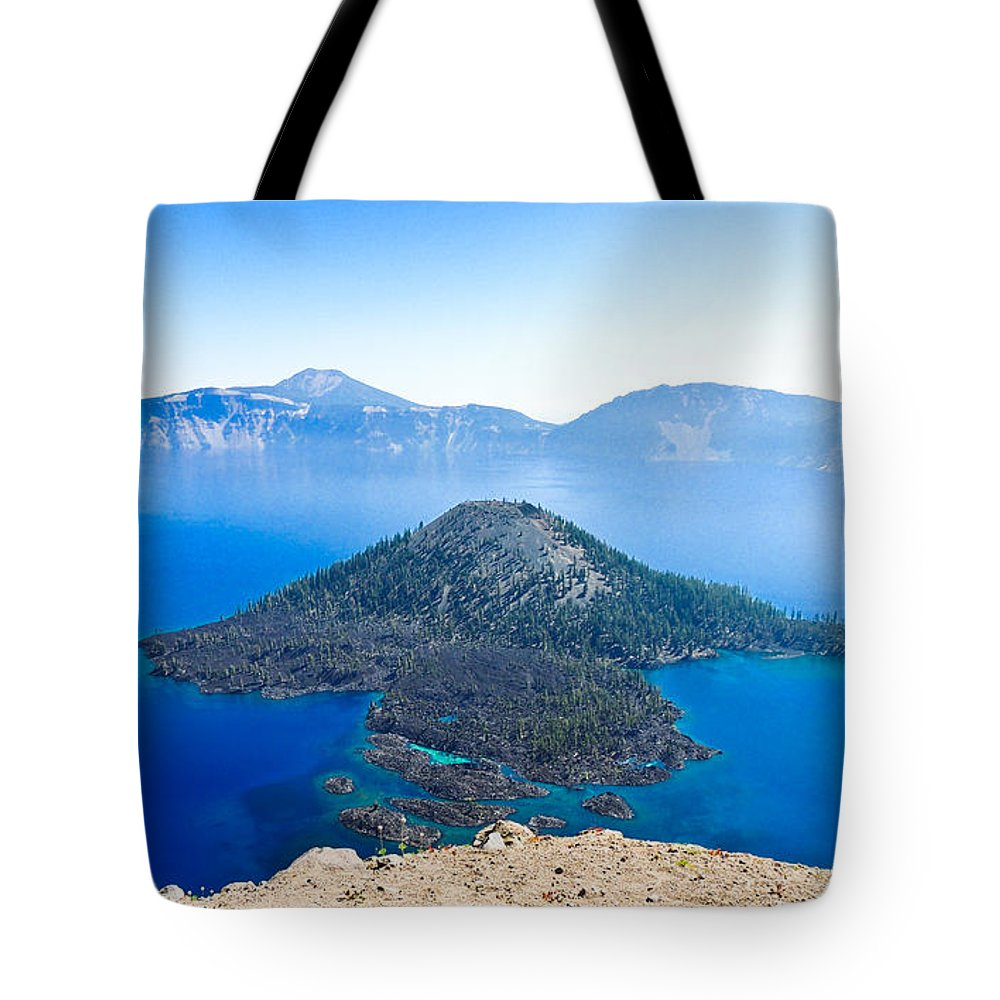 Crater Lake Tote Bag featuring the photograph Crater Lake Wizard Island by L J Oakes