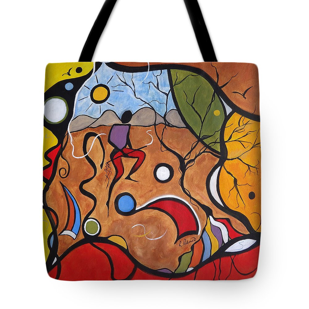 Landscape Tote Bag featuring the painting Crazy Rain Dance by Ruth Palmer