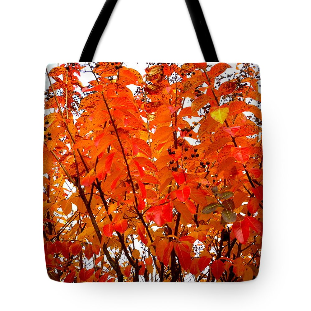 Crepe Tote Bag featuring the photograph Crepe Myrtle Leaves In Autumn by Renee Trenholm
