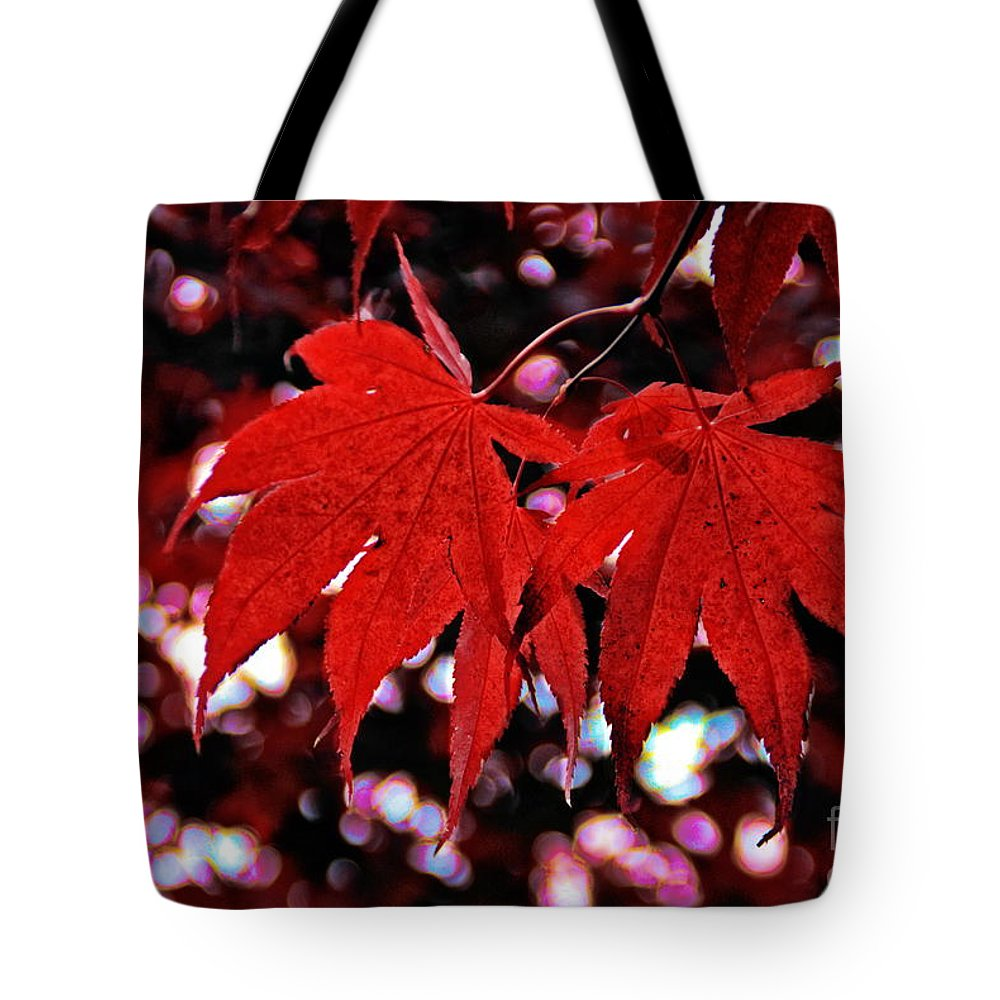 Maple Leaves Tote Bag featuring the photograph Crimson Beauty by Andrea Kollo