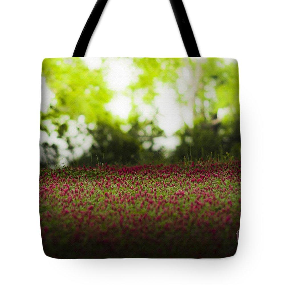 Crimson Clover Tote Bag featuring the mixed media Crimson Clover by Kim Henderson