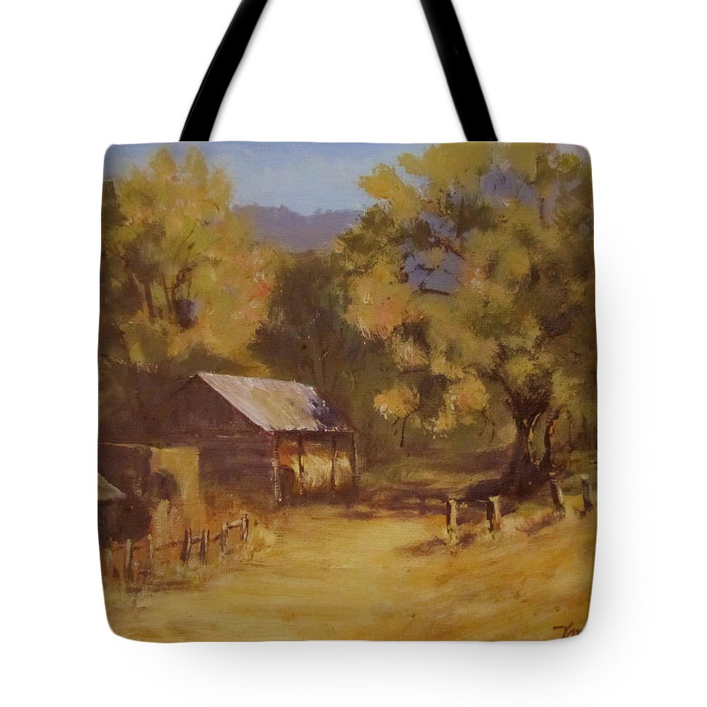 Landscape Tote Bag featuring the painting Crippen Ranch by Karen Ilari