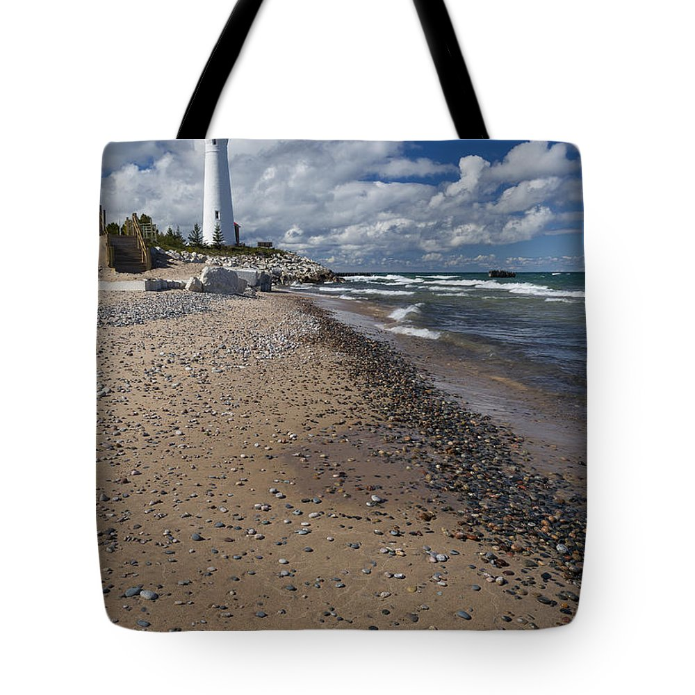 Crisp Tote Bag featuring the photograph Crisp Point Lighthouse 14 by John Brueske