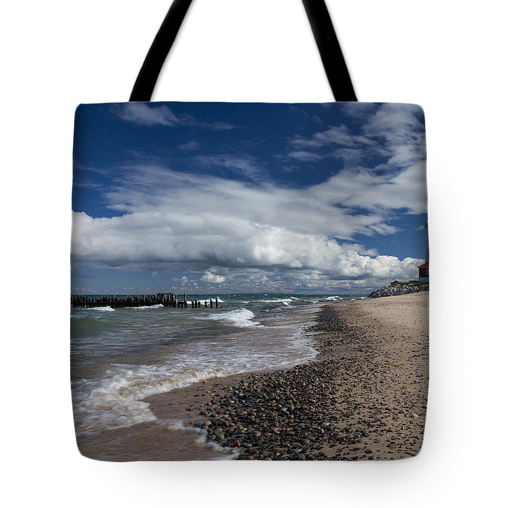 Crisp Tote Bag featuring the photograph Crisp Point Lighthouse 3 by John Brueske