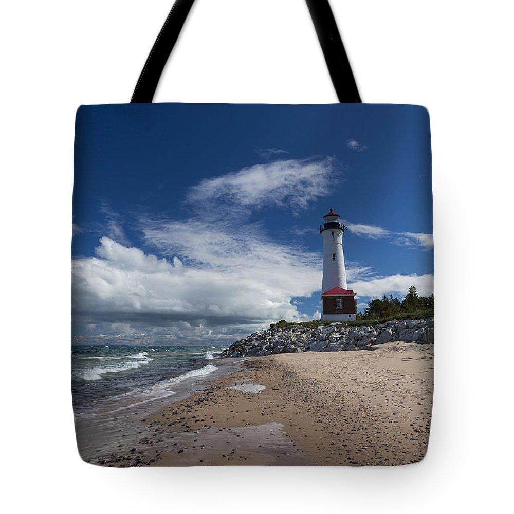 Crisp Tote Bag featuring the photograph Crisp Point Lighthouse 6 by John Brueske