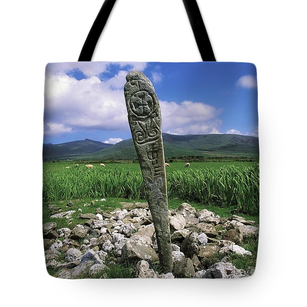 Animals Tote Bag featuring the photograph Cross Slab, Dingle Peninsula, Co Kerry by The Irish Image Collection