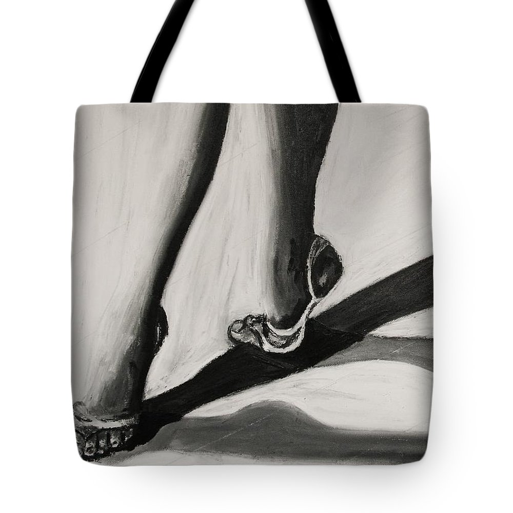 Ballet Tote Bag featuring the painting Crossing Shadows by Cris Motta