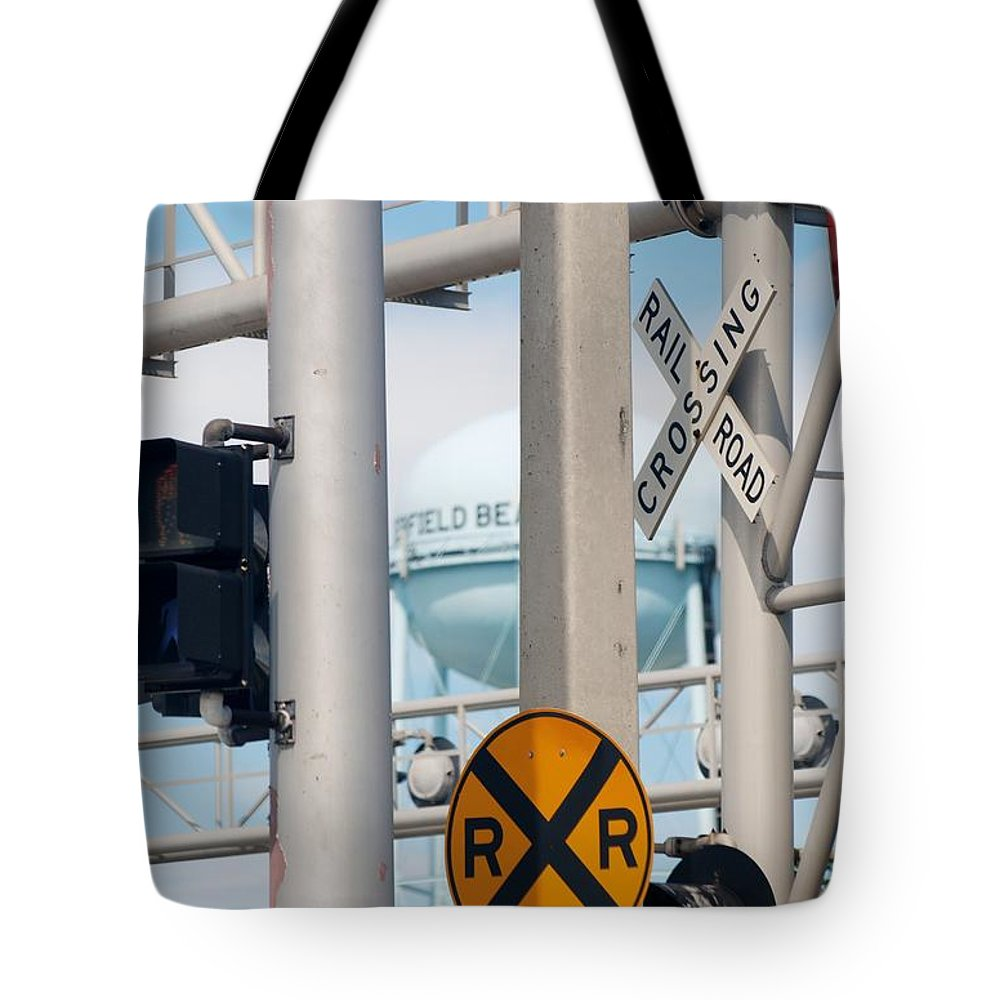 Trains Tote Bag featuring the photograph Crossing Signs by Rob Hans