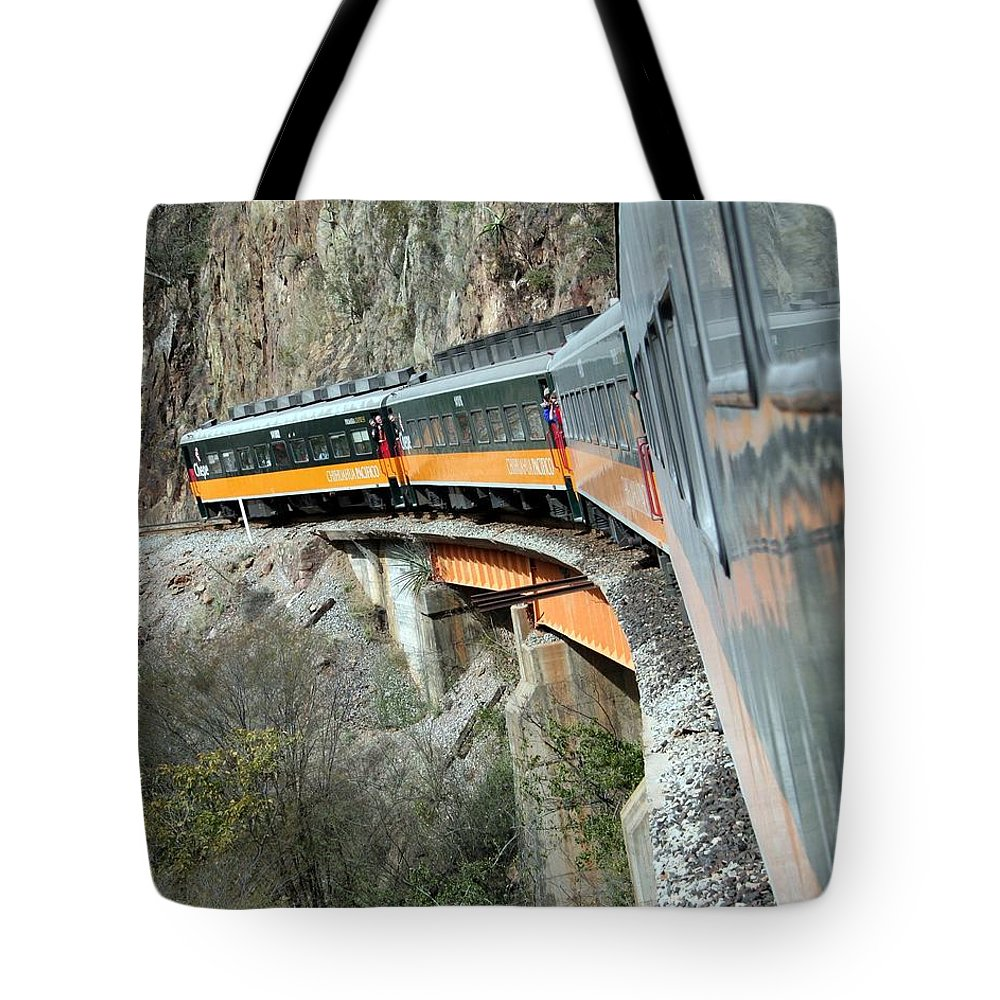 Train Tote Bag featuring the photograph Crossing The Bridge by Laurel Talabere