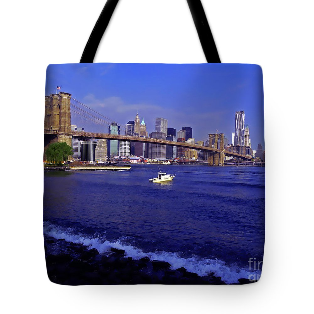 Hudson River Tote Bag featuring the photograph Crossing The Hudson by Kendall Eutemey