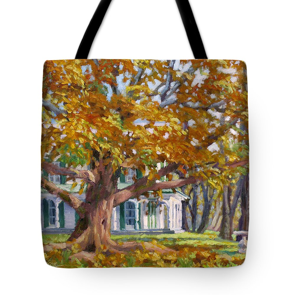 Plein Air Oil Landscape Painting Tote Bag featuring the painting Crown Of Gold by L Diane Johnson