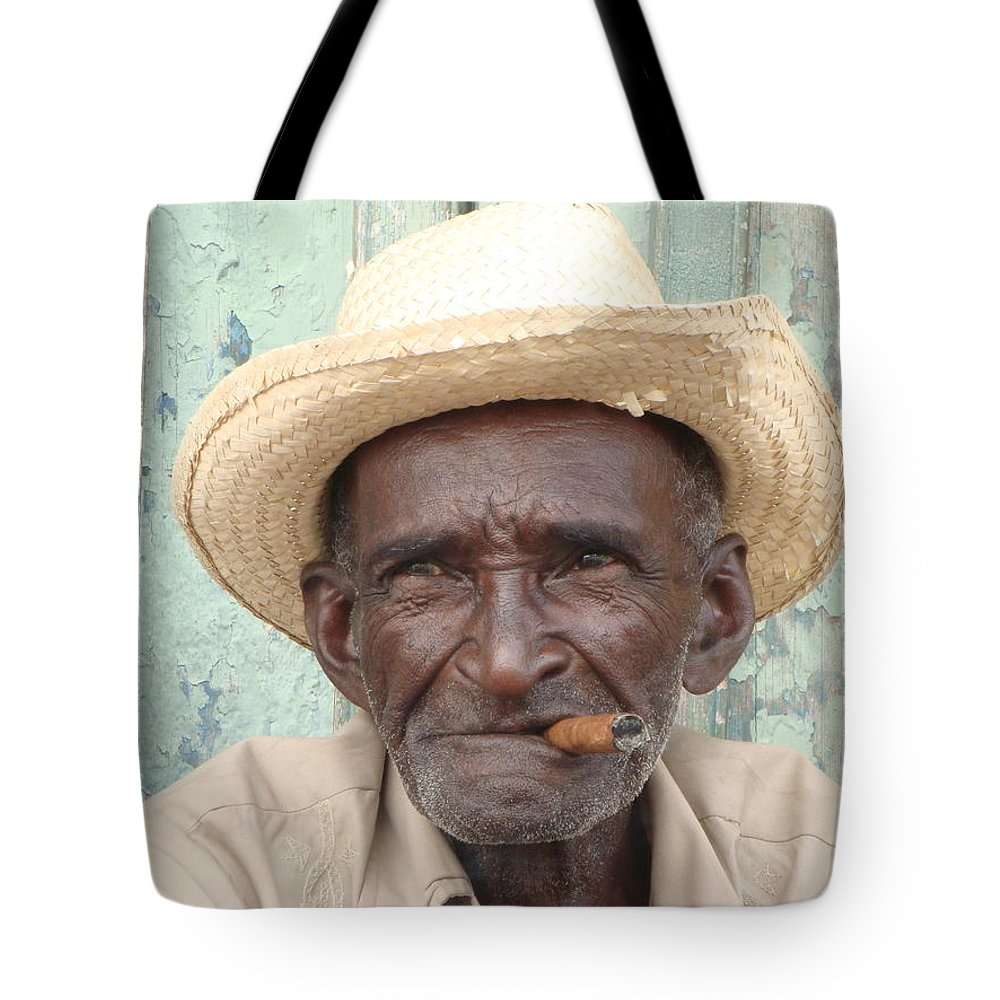 Cuba Tote Bag featuring the photograph Cuba's Old Faces by Allen Meyer
