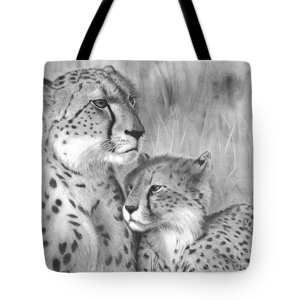 Cuddle Tote Bag featuring the drawing Cuddle by Christian Conner