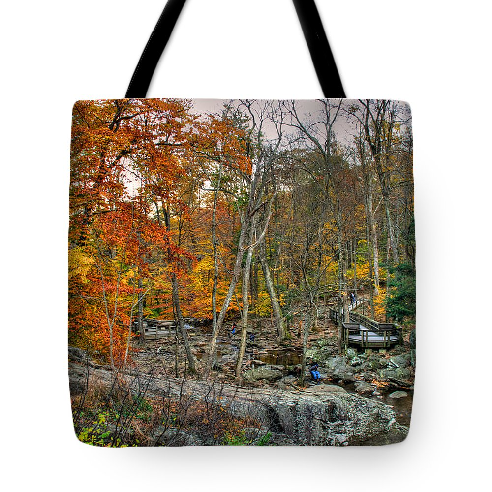 Cunningham Falls Tote Bag featuring the photograph Cunningham Falls Viewing Platforms by Mark Dodd