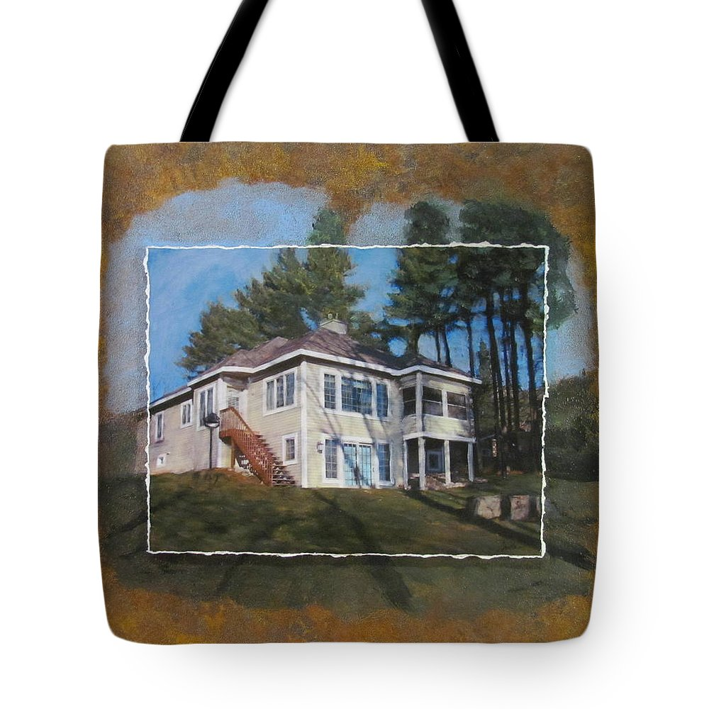 Home Tote Bag featuring the mixed media Custom Home 1 Layered by Anita Burgermeister