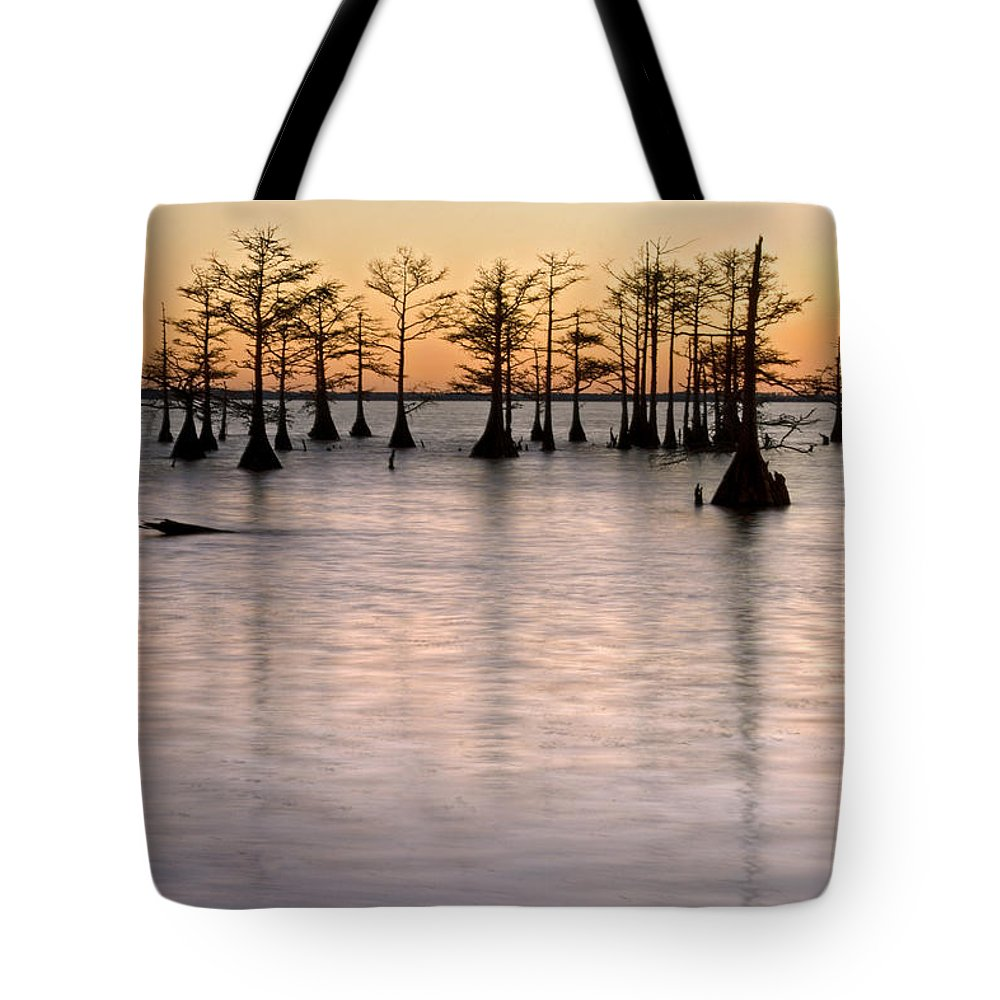 Mattamuskeet Tote Bag featuring the photograph Cypress Sunset by Rob Travis