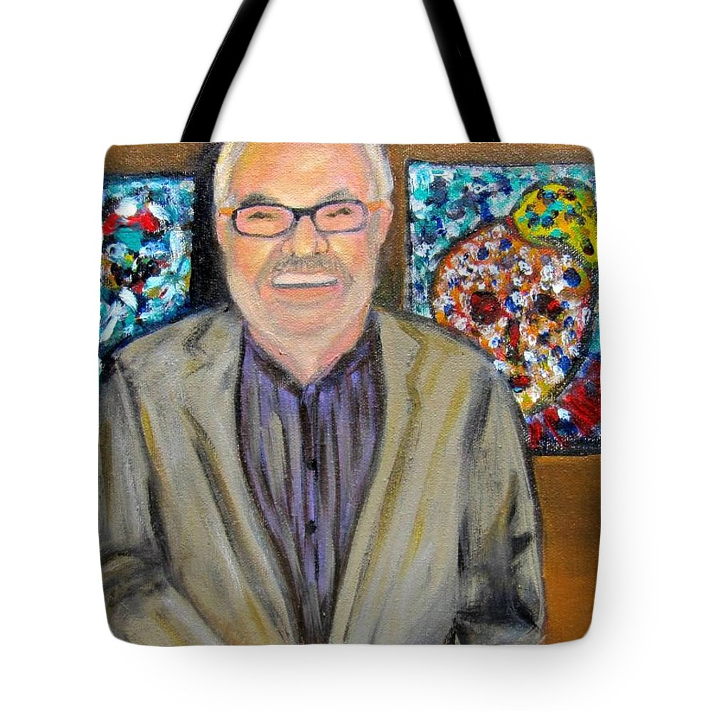 Dad Tote Bag featuring the painting Dad Shows His Art by Laurie Morgan