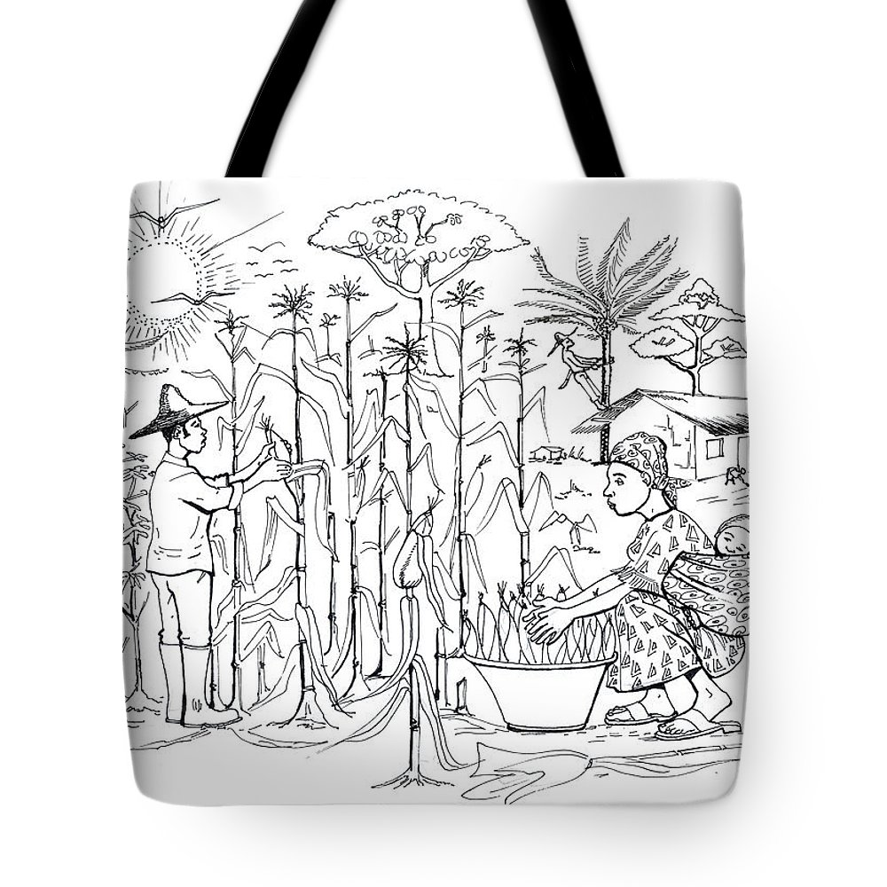 Mais Harvest Tote Bag featuring the drawing Daily Life In South And Center Cameroon 01 by Emmanuel Baliyanga