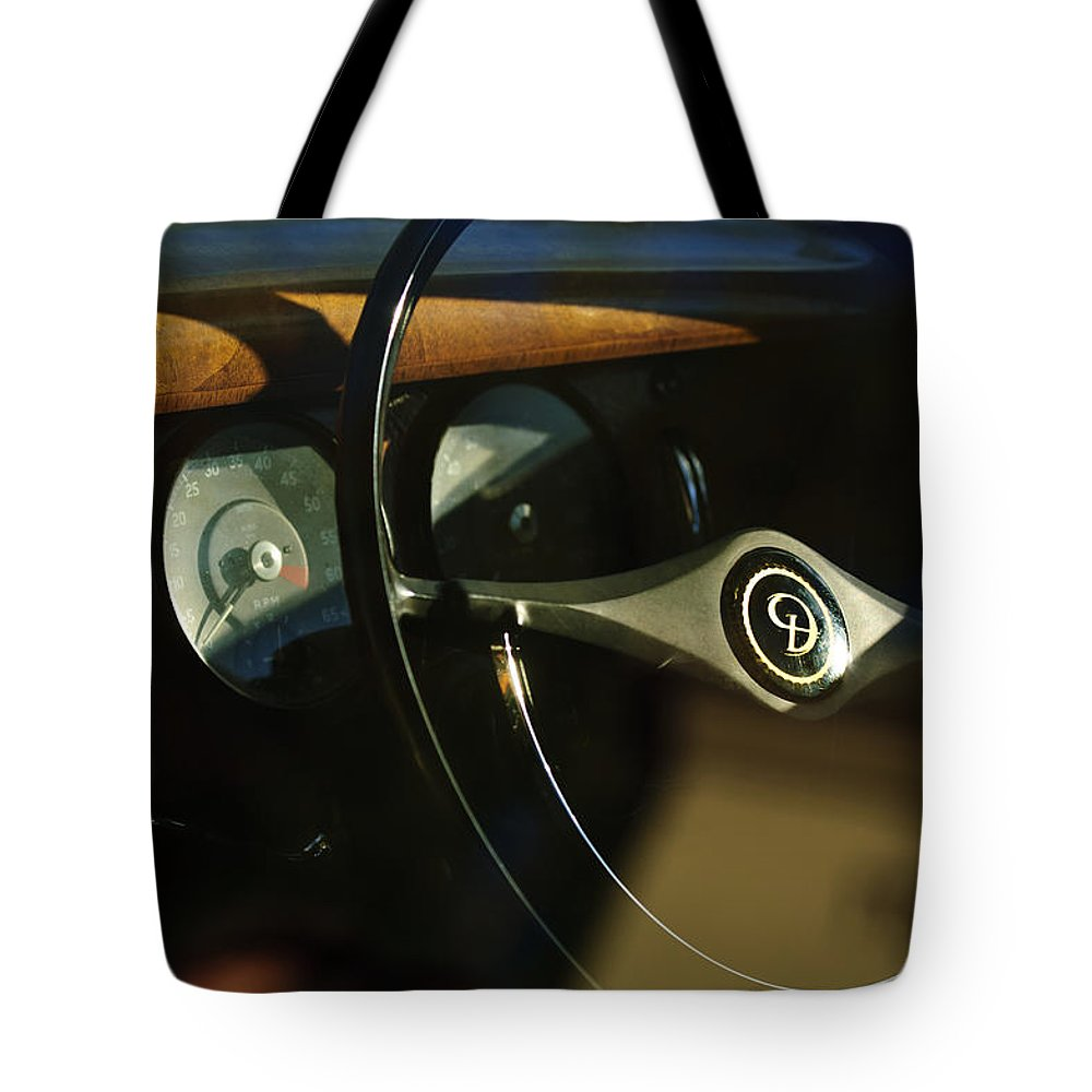 Daimler Tote Bag featuring the photograph Daimler Steering Wheel by Jill Reger