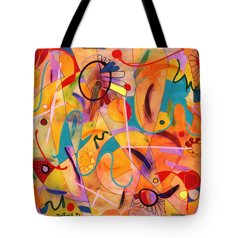 Abstract Tote Bag featuring the painting Daisy May by Lynne Taetzsch