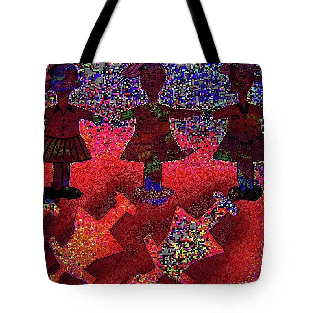 Karen Elzinga Art Tote Bag featuring the mixed media Dance Recital by Karen Elzinga