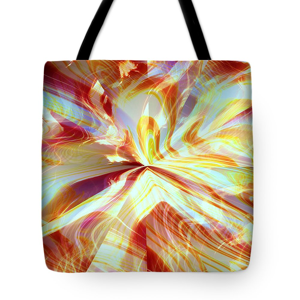 Flames Tote Bag featuring the digital art Dancing With Fire by Shana Rowe Jackson