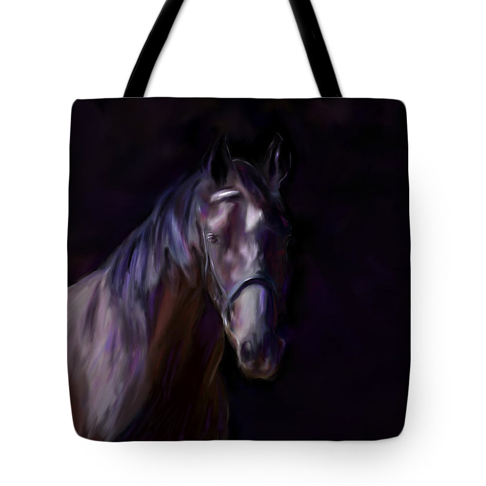 Horse Tote Bag featuring the painting Dark Horse by Michelle Wrighton