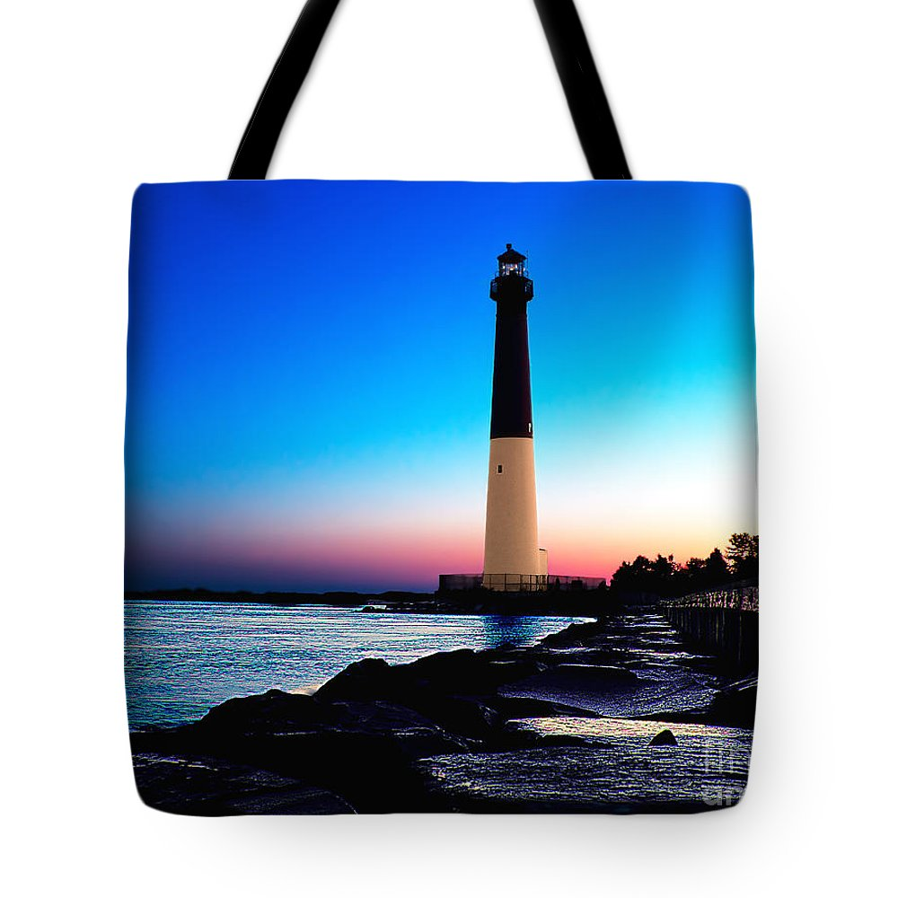 Lighthouse Tote Bag featuring the photograph Dawn At Barnegat Light by Nick Zelinsky