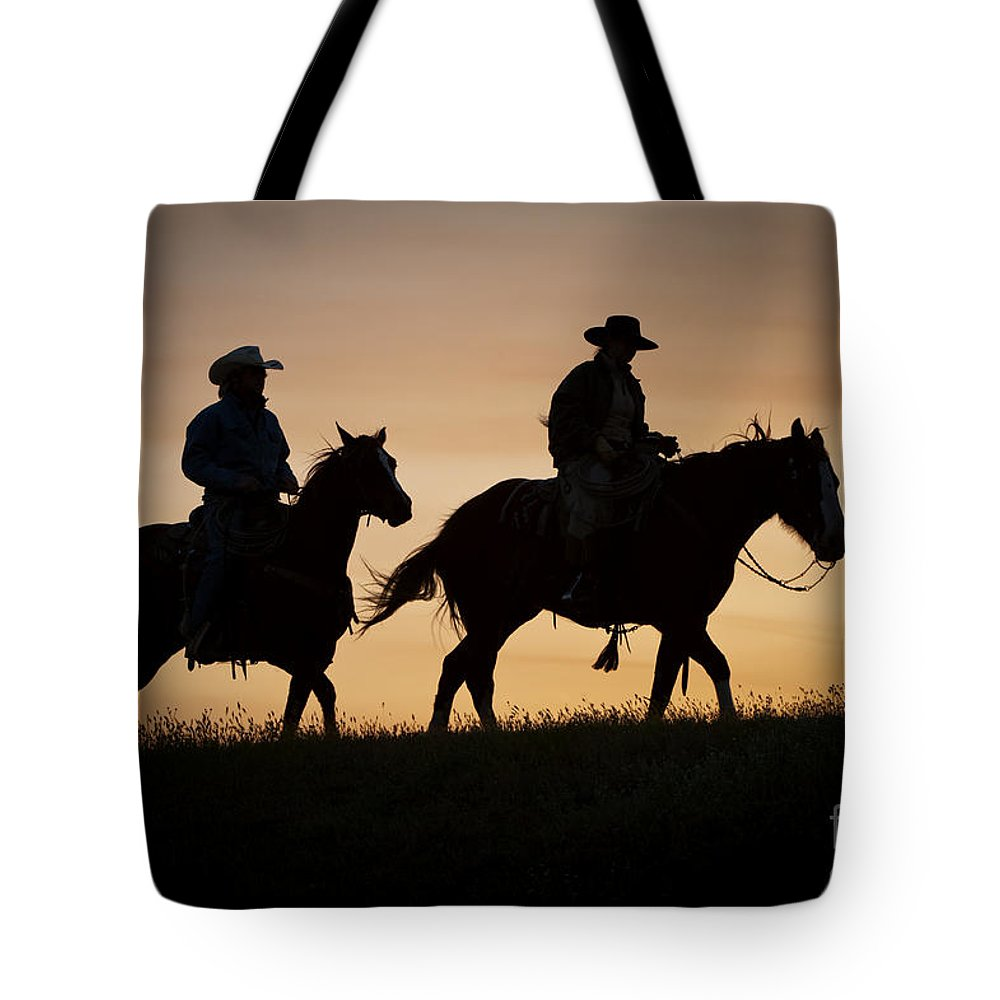 Horses Tote Bag featuring the photograph Day Is Done by Sandra Bronstein