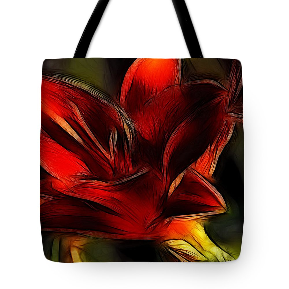 Fine Art Photography Tote Bag featuring the photograph Day Lily Fractal by Donna Greene