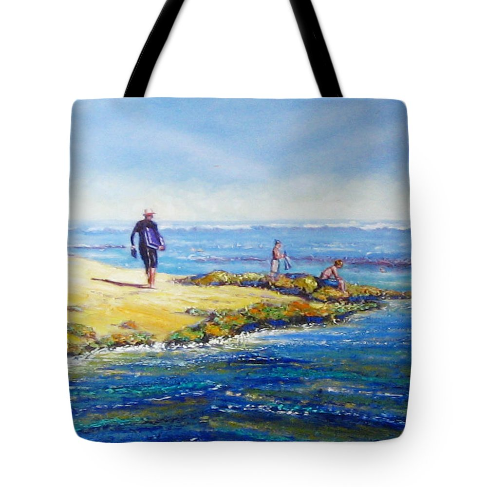 Beach Tote Bag featuring the painting Day Out At Coloundra Beach Queensland2 by Diane Quee