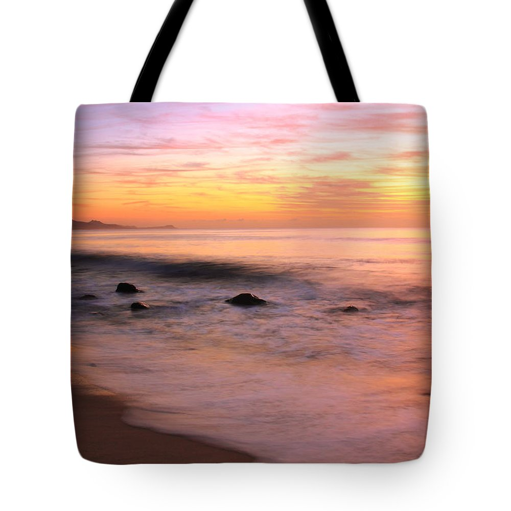 Daybreak Tote Bag featuring the photograph Daybreak Seascape by Roupen Baker