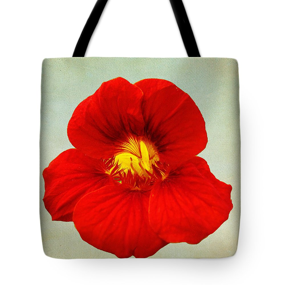 Red Tote Bag featuring the photograph Daylily On Texture by Bill Barber