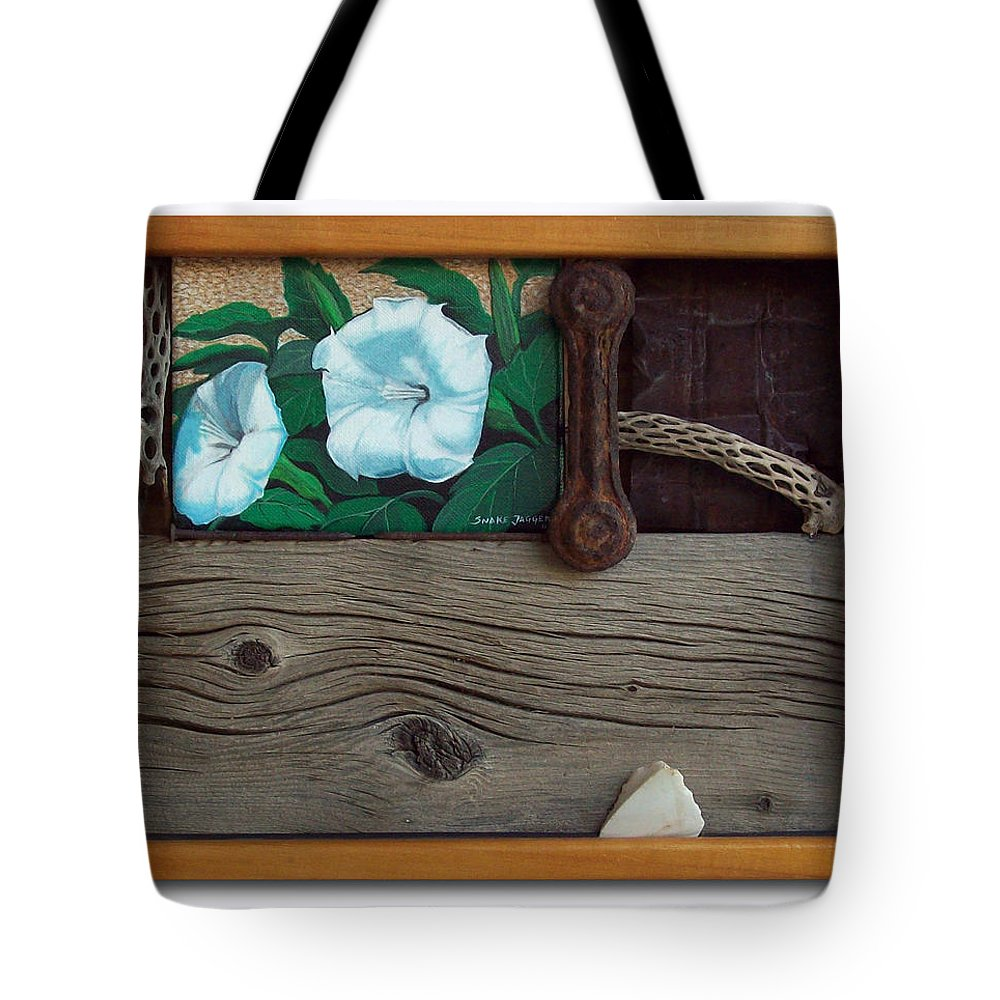Assemblage Tote Bag featuring the sculpture Deadly Nightshade by Snake Jagger