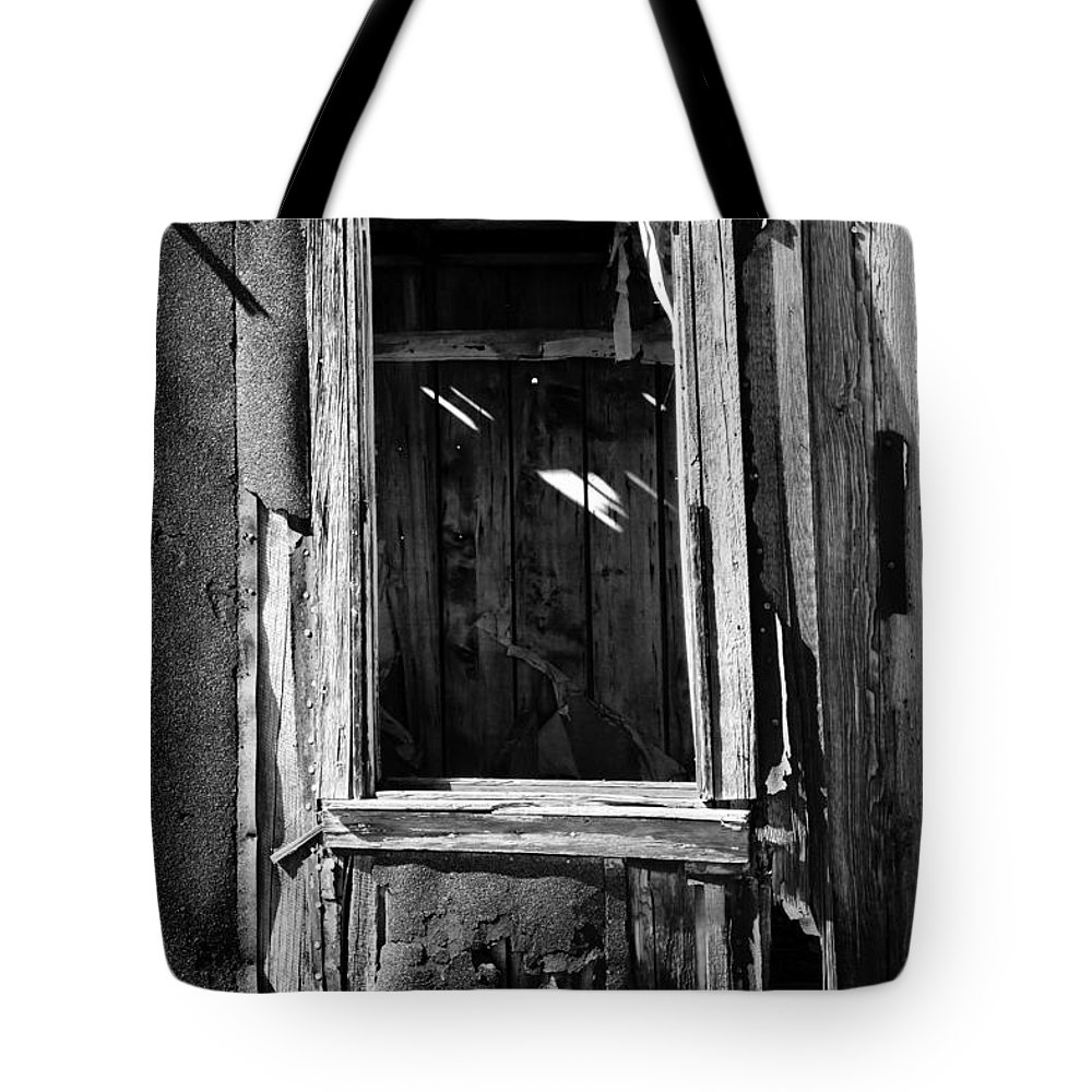 Black White Tote Bag featuring the photograph Decrepit Bw by Kelley King
