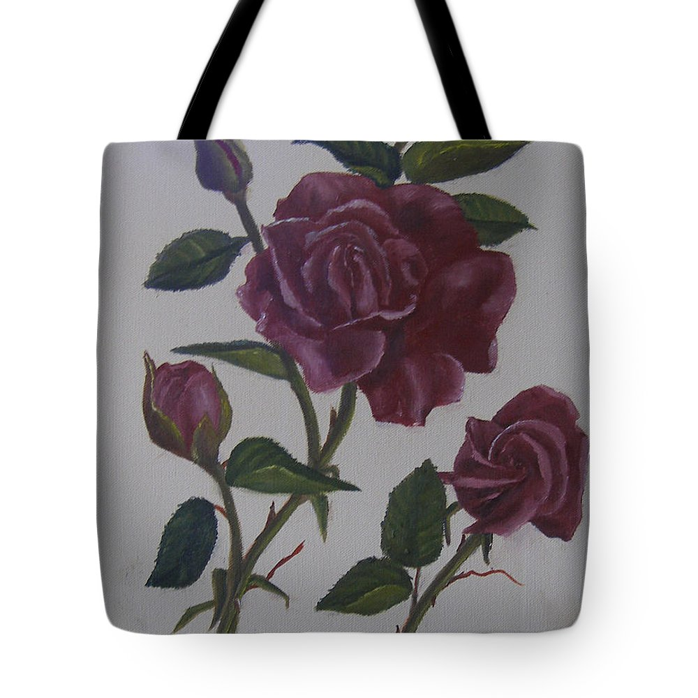 Floral Tote Bag featuring the painting Deep Red Roses by Mark Perry