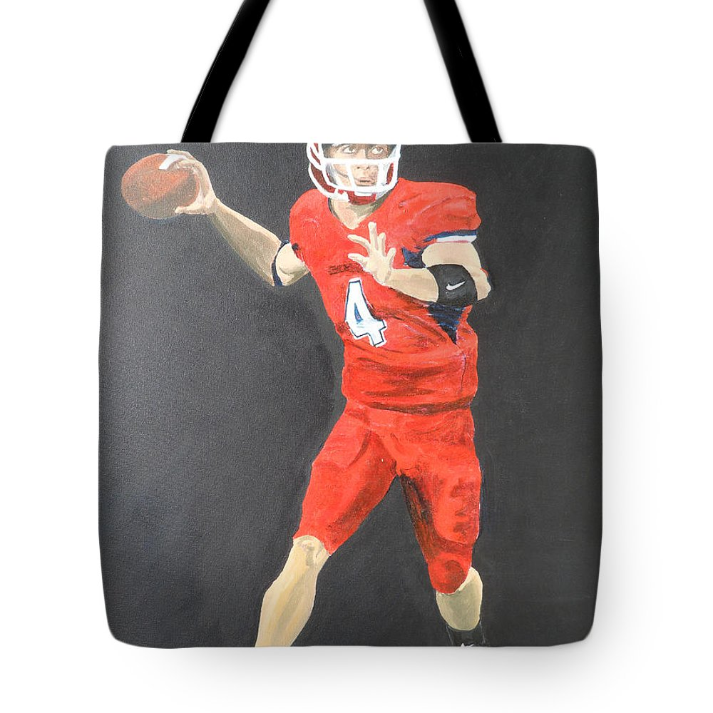 Derek Carr Tote Bag featuring the painting Derek Carr by Travis Day