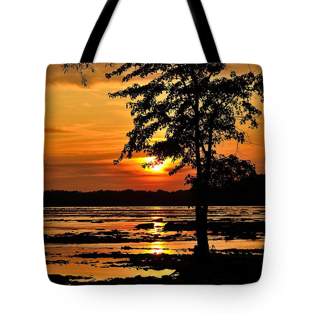 Deschene's Rapids Tote Bag featuring the photograph Deschenes Sunset by Joshua McCullough