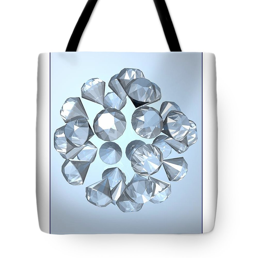 Abstract Tote Bag featuring the digital art Diamonds... by Tim Fillingim