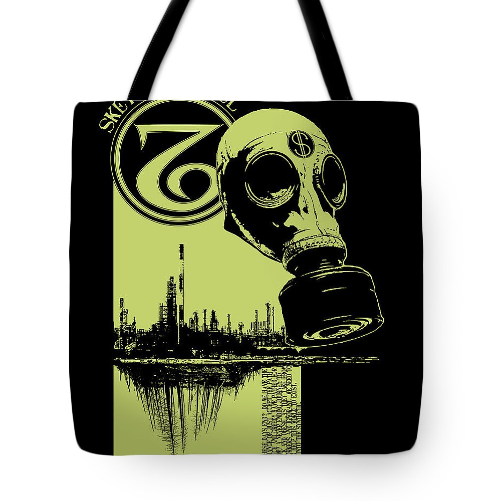 Gas Mask Tote Bag featuring the mixed media Digging Up The Past by Tony Koehl