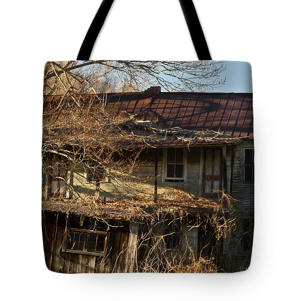 Abandoned Tote Bag featuring the photograph Dilapidated Farmhoue by Douglas Barnett